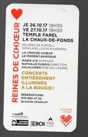 La Chaux De Fond (Suisse)  Carte REINES DE C(H)OEUR Concerts à La Bougie  (PPP28773) - Publicités