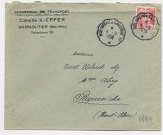 GANDON 15FR LETTRE CONVOYEUR MOLSHEIM A SAVERNE 1° 4.9.1951 - Railway Post