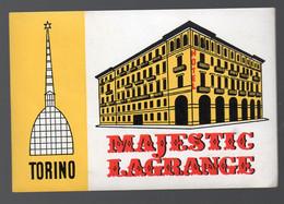 Turin / Torno (Ityalie)  étiquette Gommée  (neuve)  De L'HOTEL MAJESTIC LAGRANGE  (PPP28774) - Publicités