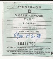 FISCAUX  FRANCE VIGNETTE D 1983   10 ET 11 CV - Fiscale Zegels