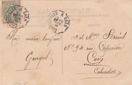 Yvert 111 Blanc Cachet Ambulant Convoyeur Courseulles à Caen 1906 Sur Carte Postale Courseulles Pour Caen - Railway Post
