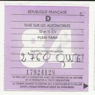 FISCAUX  FRANCE VIGNETTE D 1984   10 ET 11 CV - Fiscale Zegels