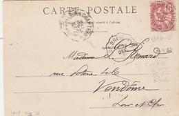 Yvert 124 Mouchon Cachet Ambulant Convoyeur Chateau Du Loir à Chartes + Pont De Braye à Blois  Sur Carte Postale - Railway Post