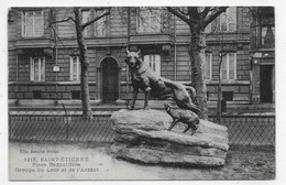 SAINT ETIENNE - N° 1215 - PLACE BADOUILLERE - GROUPE DU LOUP ET DE L' AGNEAU  - CPA NON VOYAGEE - Saint Etienne