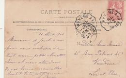Yvert 124 Mouchon Cachet Ambulant Convoyeur Nevers à La Roche 1904  Sur Carte Postale Fantaisie  Femme Pour Vendôme - Railway Post