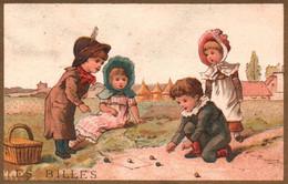 JOLIE SERIE 6 CHROMOS JEUX D ENFANTS / TESTU MASSIN / Les Quilles Billes Le Volant La Main Chaude Chevaux Croquet - Non Classificati