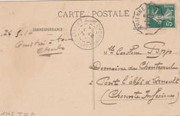 Yvert 137 Semeuse Cachet Ambulant Convoyeur Brienne à Troyes 1914 Sur Carte Postale Pour Pont L' Abbé D' Arnoult 17 - Railway Post