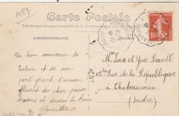 Yvert 138 Semeuse Cachet Ambulant Convoyeur Chateauroux à Montluçon 1913 Sur Carte Postale Culan Viaduc - Railway Post
