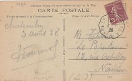 Yvert 189 Semeuse Cachet Ambulant Convoyeur Brest à Quimper 1928 Sur Carte Postale Chateaulin Pour Nantes - Railway Post