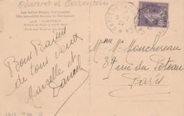 Yvert 236 Semeuse Cachet Ambulant Convoyeur Carteret à Carentan 1929 Sur Carte Postale Pour Paris - Railway Post