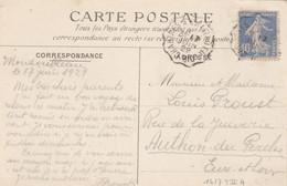 Yvert 237 Semeuse Cachet Ambulant Convoyeur Chartes à Chateau Du Loir 1929 Sur Carte Postale Sénat ( Nu ) Pour Authon 28 - Railway Post
