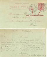 EP TYPE MOUCHON 10 C. Date 131 TàD Bureau Recette BORDEAUX-FONDAUDEGE GIRONDE Du 1-11-01 JOUR FÉRIÉ - Standard Postcards & Stamped On Demand (before 1995)