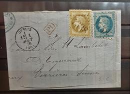 05 - 21 - France - Fragment N° 28 Et 28  - Oblitération GC 1638 Genlis - Côte D'or - 1863-1870 Napoleon III With Laurels