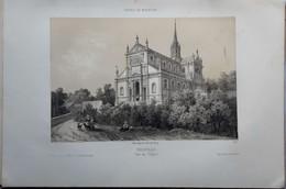 14 TROUVILLE  LITHOGRAPHIE ORIGINALE 1860 EN DEUX TONS PRESENTANT L'EGLISE   LITOGRAPHIE AUTHENTIQUE 29 X 20 CM - Trouville