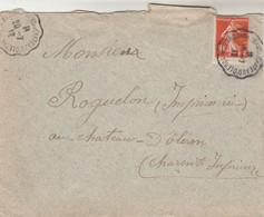 Yvert 138 Semeuse Lettre Cachet Ambulant Convoyeur St Trojan Les Bains Au Chateau D' Oléron 1912 - Railway Post