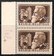 D - [813547]TB//**/Mnh-BELGIQUE 1955 - N° 973-v7, Inventeur, E Solvay, Production De La Soude, Griffe Entre 1 Et 9,Céléb - Errors (Catalogue Luppi)