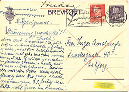 Denmark Brevkort Postal Stationery Uprated And Sent As A SUNDAY LETTER 1-12-1951 - Briefe U. Dokumente