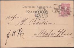 Germany - Postal Stationery Card, Ganzsache P 10 + Mi 33. COELN, Köln 26.6.1877 - Uster, Schweiz (bent In The Middle). - Postwaardestukken