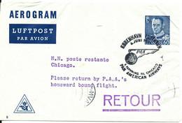 Denmark Aerogramme First Pan AM Flight Copenhagen - Chicago 6-6-1954 - Briefe U. Dokumente