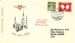 Denmark First Flight Card SAS First DC-9 Flight Copenhagen - Abadan 6-4-1968 - Briefe U. Dokumente