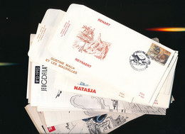 BELGIQUE BD WALTHERY NATACHA  BEL ENSEMBLE DONT LES DIVERRSES OBLITERATIONS TEMPORAIRES + ... - Covers & Documents