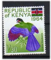 Kenya 1964 Day Of The Republic: Bird, Hartlaub's Turaco, (Tauraco Hartlaubi)  MI 18 MNH(**) - Kenya (1963-...)