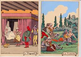 Illustrateur Jean Jean - BARRE DAYEZ - 3 Cartes De La Série Des 7 Péchés Capitaux : La Colère, L'orgueil Et La Luxure - Andere Illustrators