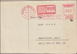 Third Reich Card W/Meter Berlin-Steglitz 1939 OPTA739 Der Super Mit Magischen Auge From Loewe - Please Note Archive - Covers & Documents