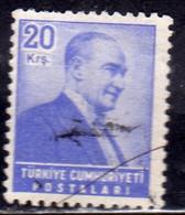 TURCHIA TURKÍA TURKEY 1955 1956 PRESIDENT Kemal ATATURK 20k USATO USED OBLITERE' - Used Stamps