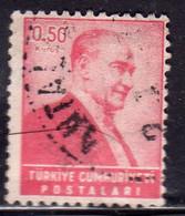 TURCHIA TURKÍA TURKEY 1955 1956 PRESIDENT Kemal ATATURK 0.50k USATO USED OBLITERE' - Used Stamps