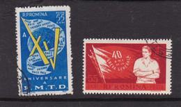 Rumänien 1960 -15 Anniv. De La Fed Mi No 1925 Et Yv No 1739 + 40 Anniv. De La Greve Generale Mi No 1926 Et Yv No 1740 - Sin Clasificación