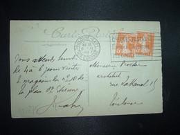 CP TP SEMEUSE 5c X2 OBL.MEC.8 IX 1923 TOULOUSE-GARE HTE GARONNE - Railway Post
