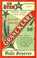 Oud Etiket / Ancienne étiquette Genever / Jenever / Genièvre Grane Klare - Stokerij De Ster Haaltert - Other