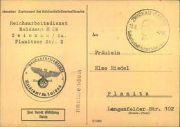 """1943, Karte Vom """"Reichsarbeitsdienst Meldeamt Zwickau"""" """"Frei Durch Ablösung"""" - Covers"""