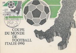 Carte  Maximum 1er  Jour   MONACO    Coupe  Du  Monde  De  FOOTBALL   ITALIE    1990 - 1990 – Italy