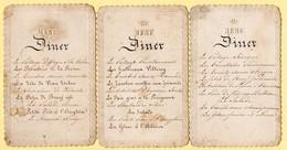 Lot De 3 Menus Manuscrits Anciens. Bords Fantaisis, Gaufrés. Couronne En Partie Haute Du Menu. - Menus