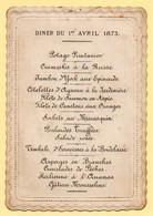 Menu Ancien Du 1er Avril 1873. Bords Fantaisis Gaufrés. - Menus