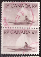 PIA - CANADA :1955 - Cacciatore Eschimese In Kayak - (Yv  278 X 2 ) - Used Stamps