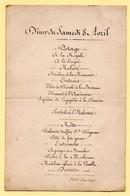 "Menu Ancien Du Samedi 8  Avril . Inscription "" Chevet - Palais Royal "" En Bas Du Menu. - Menus"