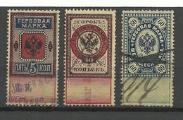 RUSSLAND RUSSIA Used In Estonia Estland - 3 Steuermarken Revenue Tax Stamps O - Estonia