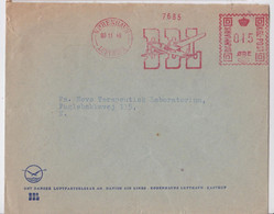 KOBENHAVN DANMARK LUFTHAVN KASTRUP DDL DANISH AIR LINES PLANE SLOGAN METER MAIL COVER DENMARK EMA AVION AVIATION 1948 - Briefe U. Dokumente