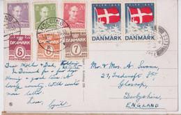 KOLDING JULEN 1945 FLAG CINDERELLA MULTI STAMP POST DANMARK POSTCARD TO GLOSSOP VIGNETTE POSTALE DRAPEAU TIMBRE DANEMARK - Briefe U. Dokumente