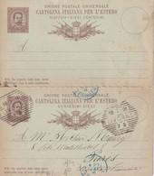 ITALIE 1891 ENTIER POSTAL/GANZSACHE/POSTAL STATIONARY  CARTE AVEC REPONSE DE LIVORNO - Interi Postali