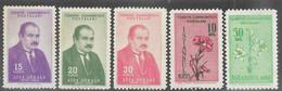 Turkey   1954-5   Sc#1138-40 Gokalb Set MNH, 10k & 50k Flowers  MLH   2016 Scott Value $4.55 - Unused Stamps