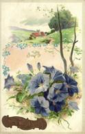 Carte Gaufrée Paysage Petunias  Bonne Année RV - Sonstige