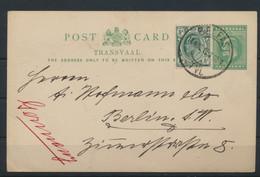 Afrika Transvaal Ganzsache Postal Stationery + ZuF Belfast TVL EMakhazeni Berlin - Transvaal (1870-1909)