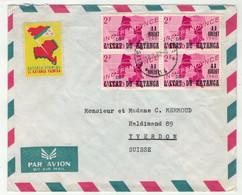 Katanga // Lettre Pour La Suisse (Yverdon)+ Vignette - Katanga