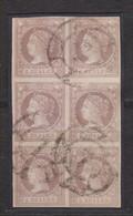 Año 1860 Edifil 56 2r Isabel II Bloque De 6 Sellos Matasellos Rueda De Carreta 7 Sevilla - Used Stamps