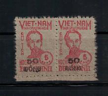 LOT DE 2 TIMBRES VIETNAM DU NORD, N°62, 1949. COTE 310€, NEUF** MNH. HÔ CHI MINH.RARE. - Vietnam