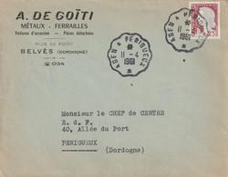 """Env. Commerciale De """"Agen à Périgueux  - 24, Dordogne"""" Du 11-04-1961, Sur YT 1263 (ambulant) - Railway Post"""